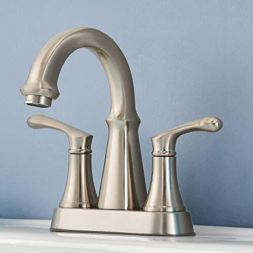 Modern Brushed Nickel 2 Handle Centerset Stainless Steel bathroom faucet, Bathroom Sink Faucet without Pop Up Drain
