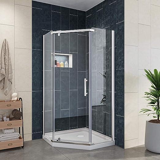 Elegante duchas A33 Neo ángulo esquina semi-frameless Pivot para mampara de ducha 36 3/5