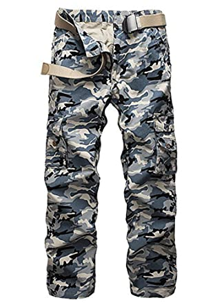 24303b107ec97 Mintsnow Mens Casual Camouflage Hunting Camo Pants with Multi Pockets Blue  at Amazon Men's Clothing store: