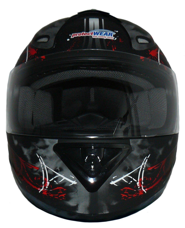 Protectwear Motorcycle helmet black-red 99 street design FS-801-99R Size M