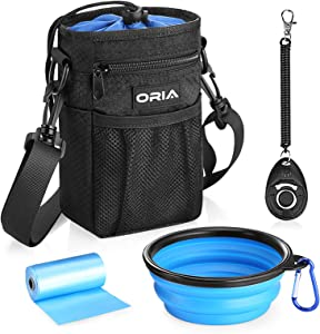 ORIA Dog Training Pouch, Dog Treat Bag, Pet Training Waist Bag with Adjustable Strap, Collapsible Dog Bowl, Storage for Treats, Toys and Training Accessories