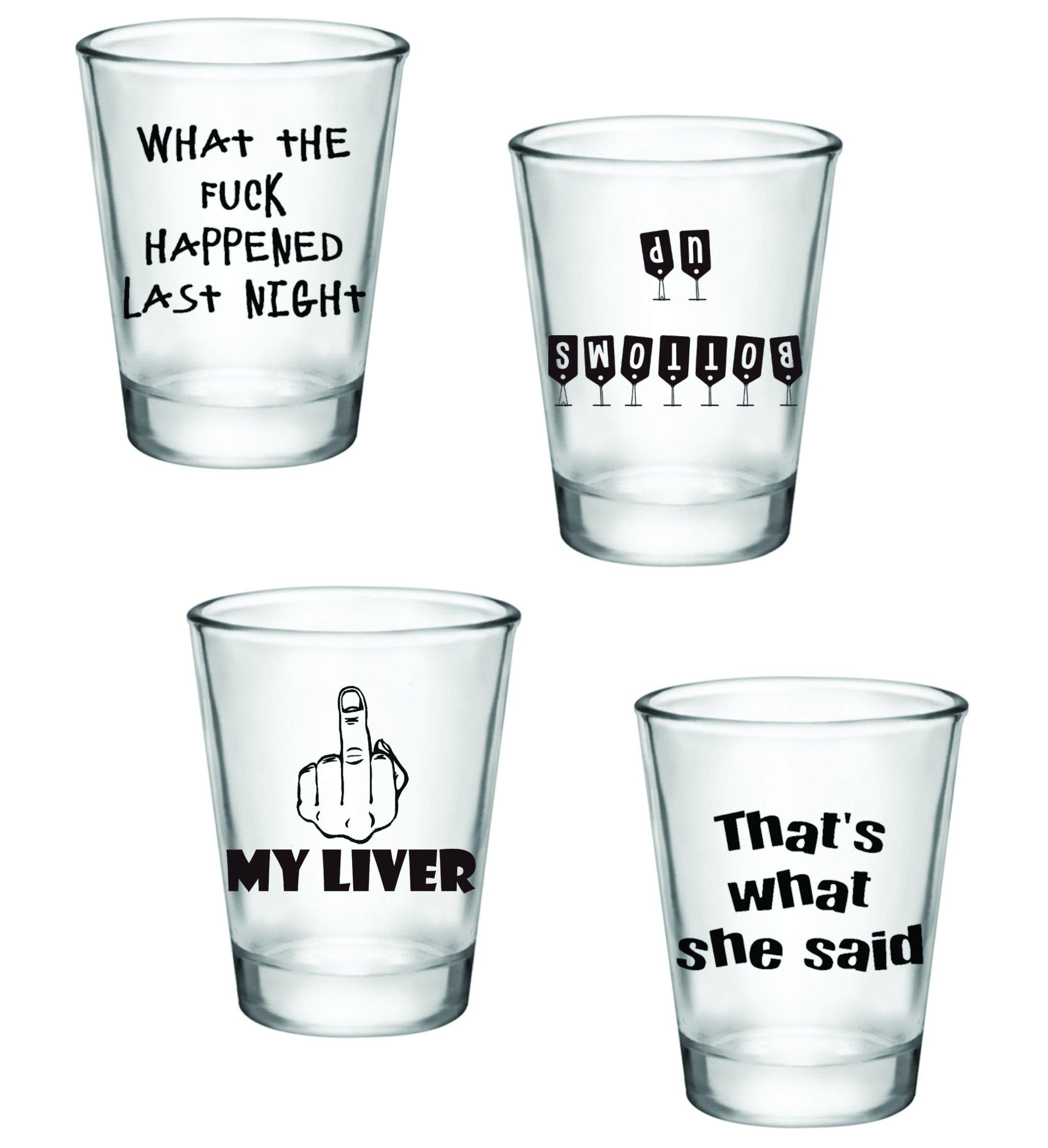 Gift Pack - Funny Shot Glasses - Set of 4 (2oz) - Great Gift Idea