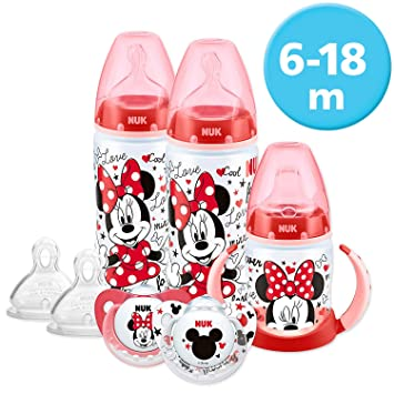 NUK Disney Baby Bottle, Soother & Sippy Cup Set, 6-18 Months, Minnie Mouse  Design, with 2 Baby Bottles, 1 Learner Cup, 2 Silicone Soother & 2 Silicone