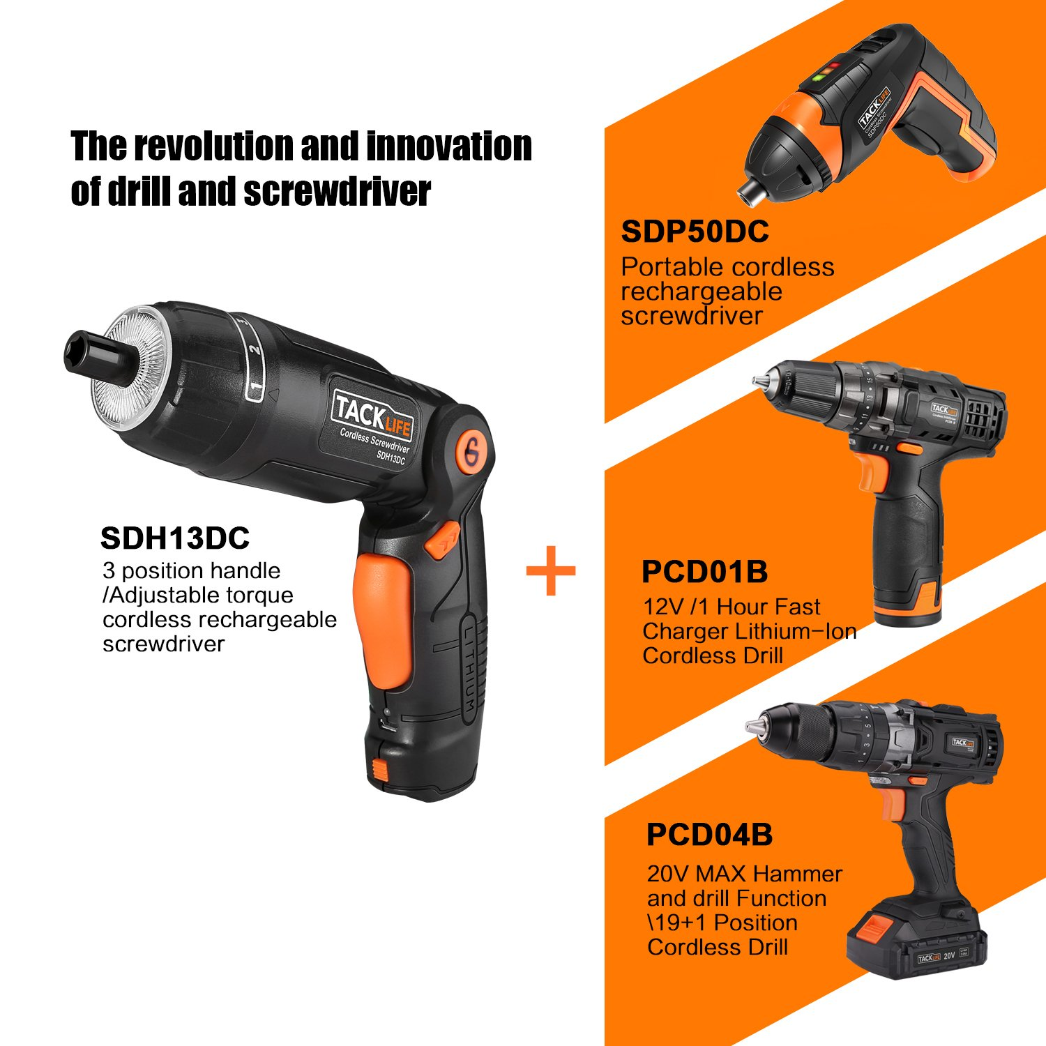 Tacklife SDH13DC Cordless Screwdriver 3.6-Volt 2000mAh MAX Torque 4N.m - 3-Position Rechargeable - 31 Screwdriver Bits in Case, 4 LED Light, Flashlight, USB Charging for Around House Small Jobs by TACKLIFE (Image #7)