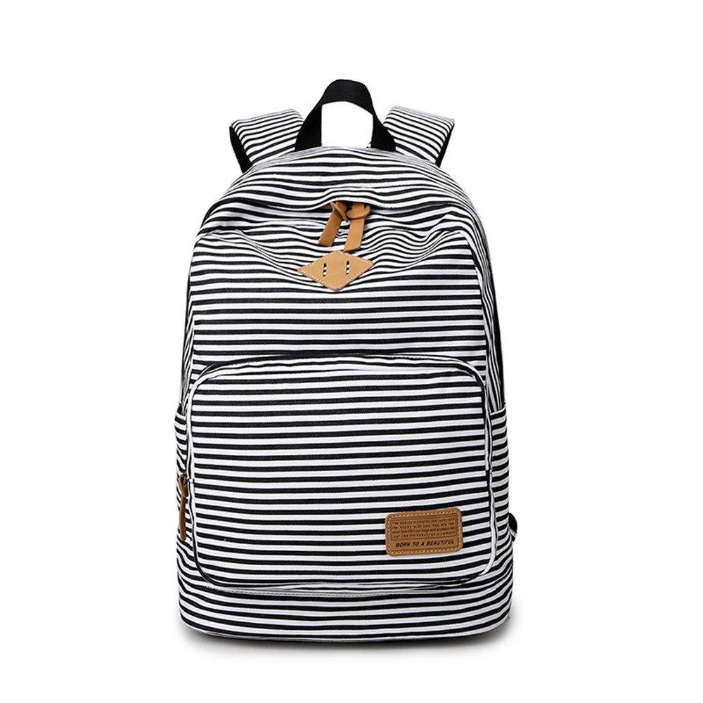 Moda lindo rayas Casual lona portátil bolso escolar mochila ligera mochilas para