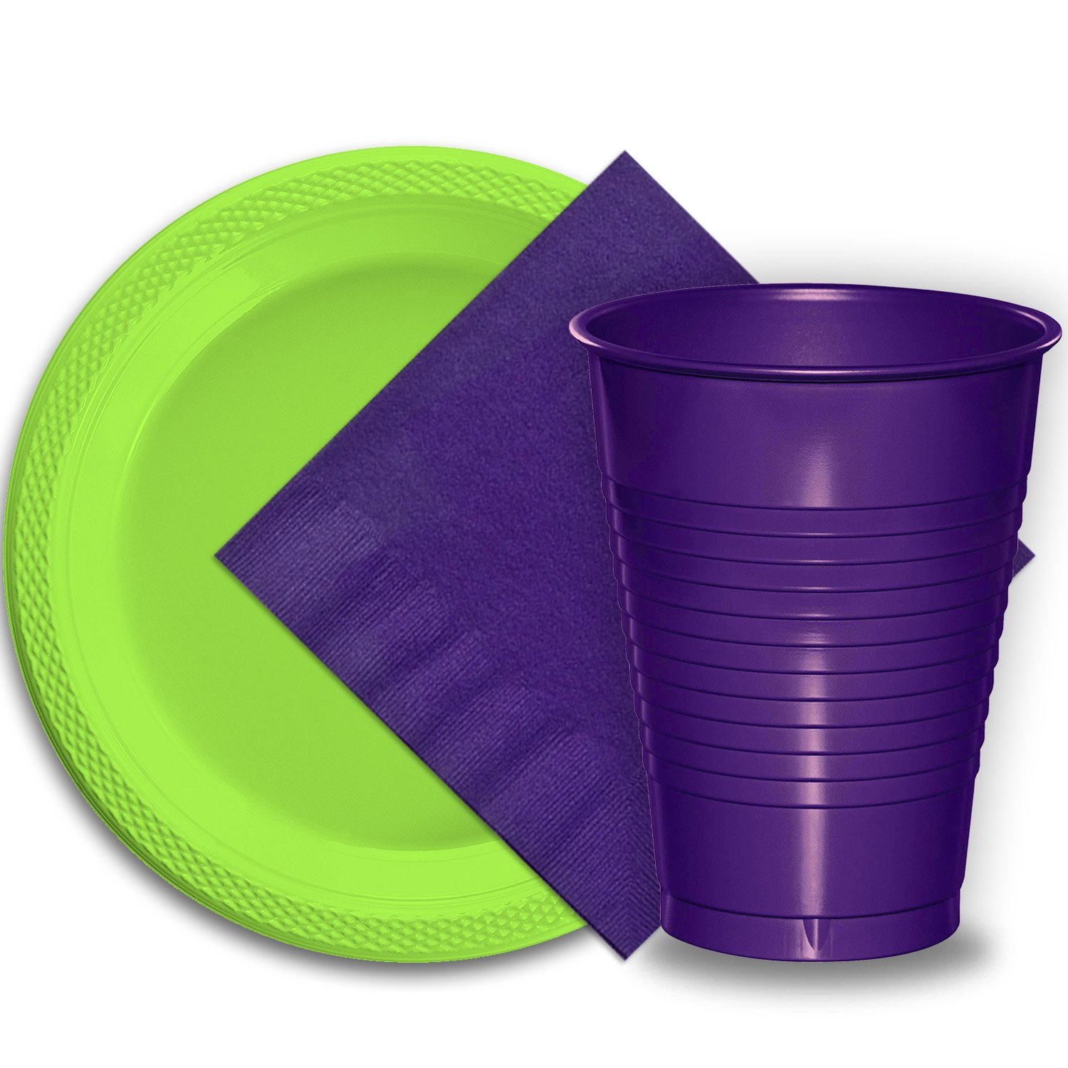 Purple and Lime Green Dinner Plates, Plastic Party Supplies for 50 Guests
