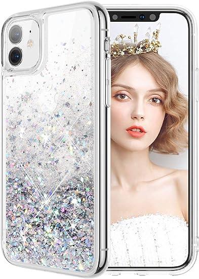 wlooo Coque pour iPhone 11, iPhone 11 Coque, iPhone 11 Silicone Coque, Glitter Liquide Paillette Protection TPU Bumper Filles Femmes Housse Étincelle ...