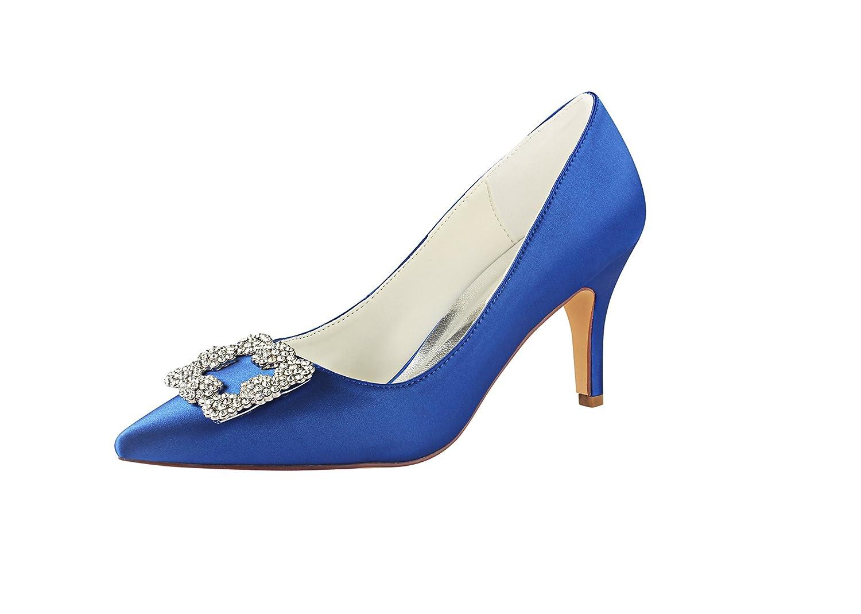 Emily Bridal Zapatos de Novia de Tacón Alto de Seda con Punta de Flores Detalle Slip en Bombas Nupciales 37 EU|Azul