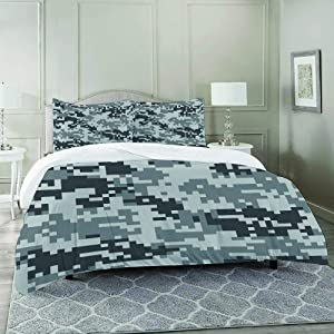 FYCORDB Duvet Cover Set-Bedding,Camo Digital Pixel Effect Modern Design Conceptual Commando Inspired Grey Toned,Quilt Cover Bedlinen-Microfibre 230x230cm with 2 Pillowcase 50x80cm