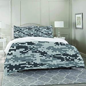 FYCORDB Duvet Cover Set-Bedding,Camo Digital Pixel Effect Modern Design Conceptual Commando Inspired Grey Toned,Quilt Cover Bedlinen-Microfibre 230x230cm with 2 Pillowcase 50x80cm