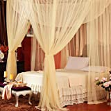 Jeteven Polyester Four Corner Post Bed Canopy Mosquito Net Netting Bedding for Full/Queen/King Bed, 74.8x82.7x94.5 Inches, Beige