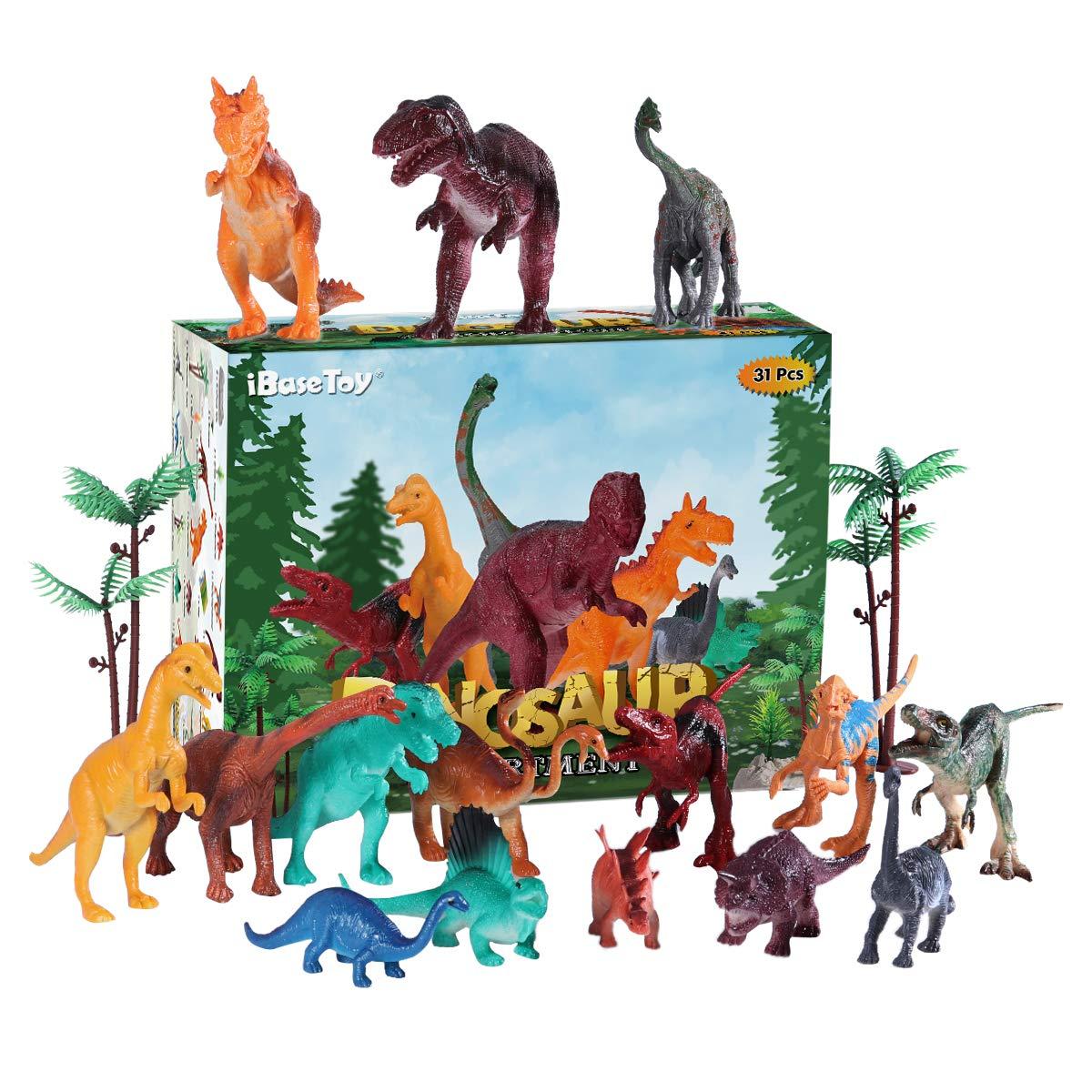 iBaseToy Dinosaurier Spielzeug Set, Dinosaurier Figuren mit Karte, 31 Verschiedene Dino Figuren für Kinder Buben und Mädchen, Einschließlich Tyrannosaurus Rex, Triceratops, Velociraptor, Stegosaurus