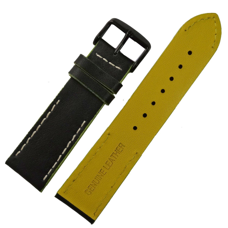 20 mm 22 mmブラックイエロー本革交換用時計ストラップ時計バンドステッチブラックバックル 20mm ブラック B0797VL2T920mm