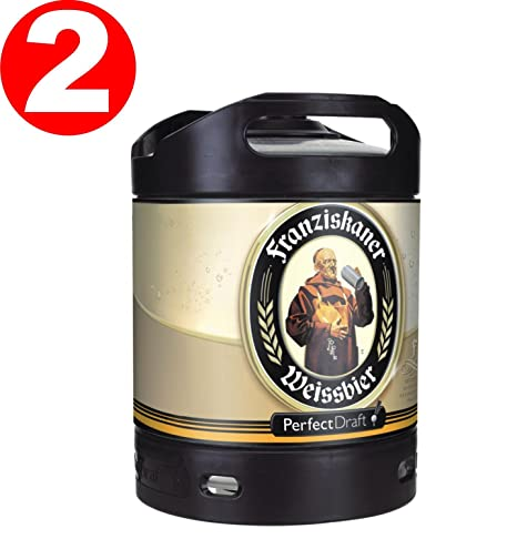 2 x Franziskaner Perfect Draft Weissbier barril de cerveza de trigo 6 litro 5,0
