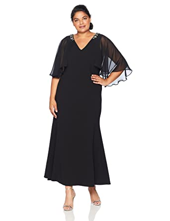c29b3d0b6c Jessica Howard Plus Size Womens V-Neck Gown with Cape Back at Amazon  Women s Clothing store