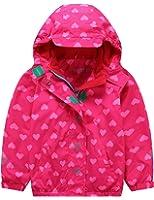 Mädchen Kapuzenjacke mit Fleecefütterung Warm Wasserdicht Winddicht atmungsaktiv Kinder Regenjacke Übergangsjacke
