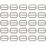 Shappy 25 Pieces 1 Inch Slide Buckle Triglide Slides Webbing Slider for Fasteners Strap Backpack, Silvery