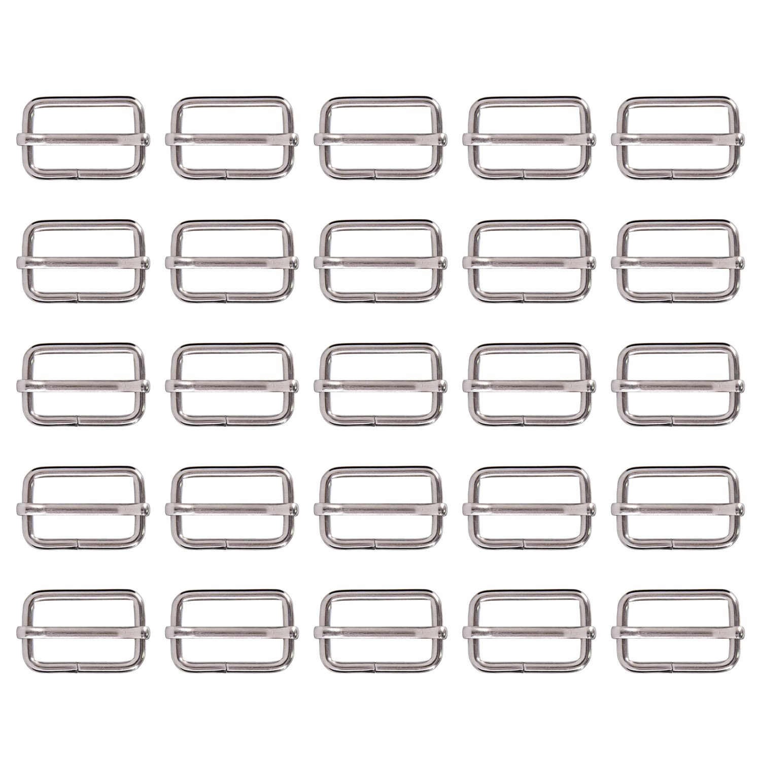 25 Pieces 1 Inch Slide Buckle Triglide Slides Webbing Slider for Fasteners Strap Backpack, Silvery Shappy 4337001032