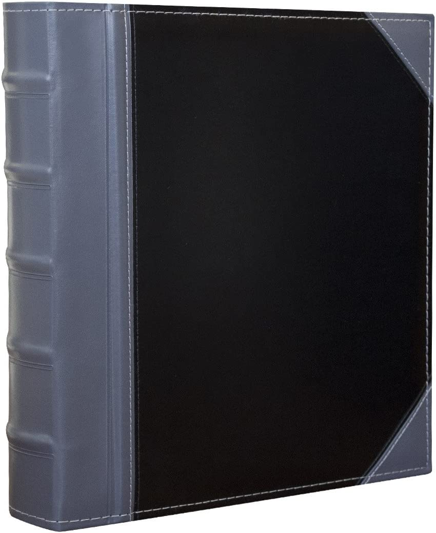Executive Binder English Leather 2 Tone with Stitching and Ribbed Spine Heavy Duty 1.1//2 Inch 3 D-Ring with Buster Holds 350 8.5x 11 Sheets Grey
