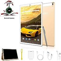 Tablet 10 Pulgadas 4G Android 9.0 IPS HD 4GB de RAM 64GB de ROM Tablet PC Quad Core Batería de 6500mAh Dual SIM y TF Dual Cámara Google Netflix WiFi,Bluetooth,GPS,OTG(Oro)