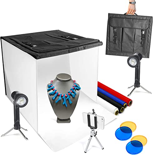 LimoStudio Table Top Photography Lightbox Kit w/Studio Style LED Lights and 4 Colored Backdrops