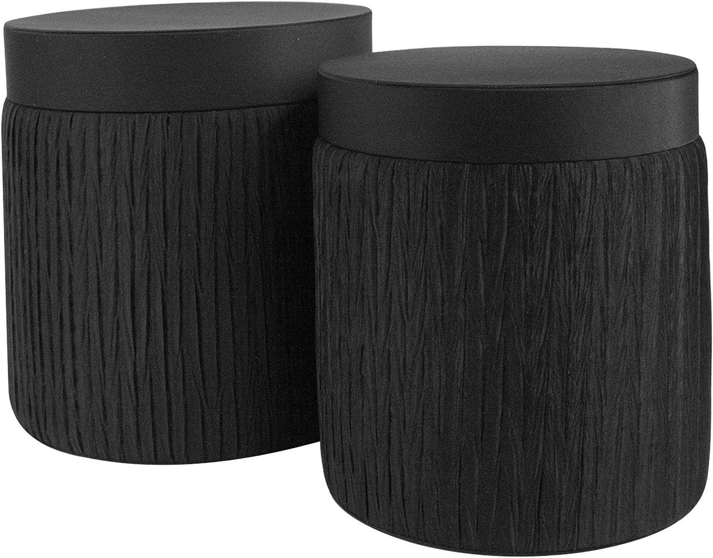 Emartbuy Conjunto de 2 Caja de Flores de Presentación de Regalo de Lujo Cubierta de Tela Redonda Negra Alta Rígida Con Inserto de Plástico Transparente