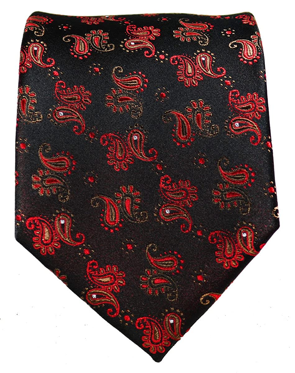 Red and Black Paisley Silk Necktie Set by Paul Malone