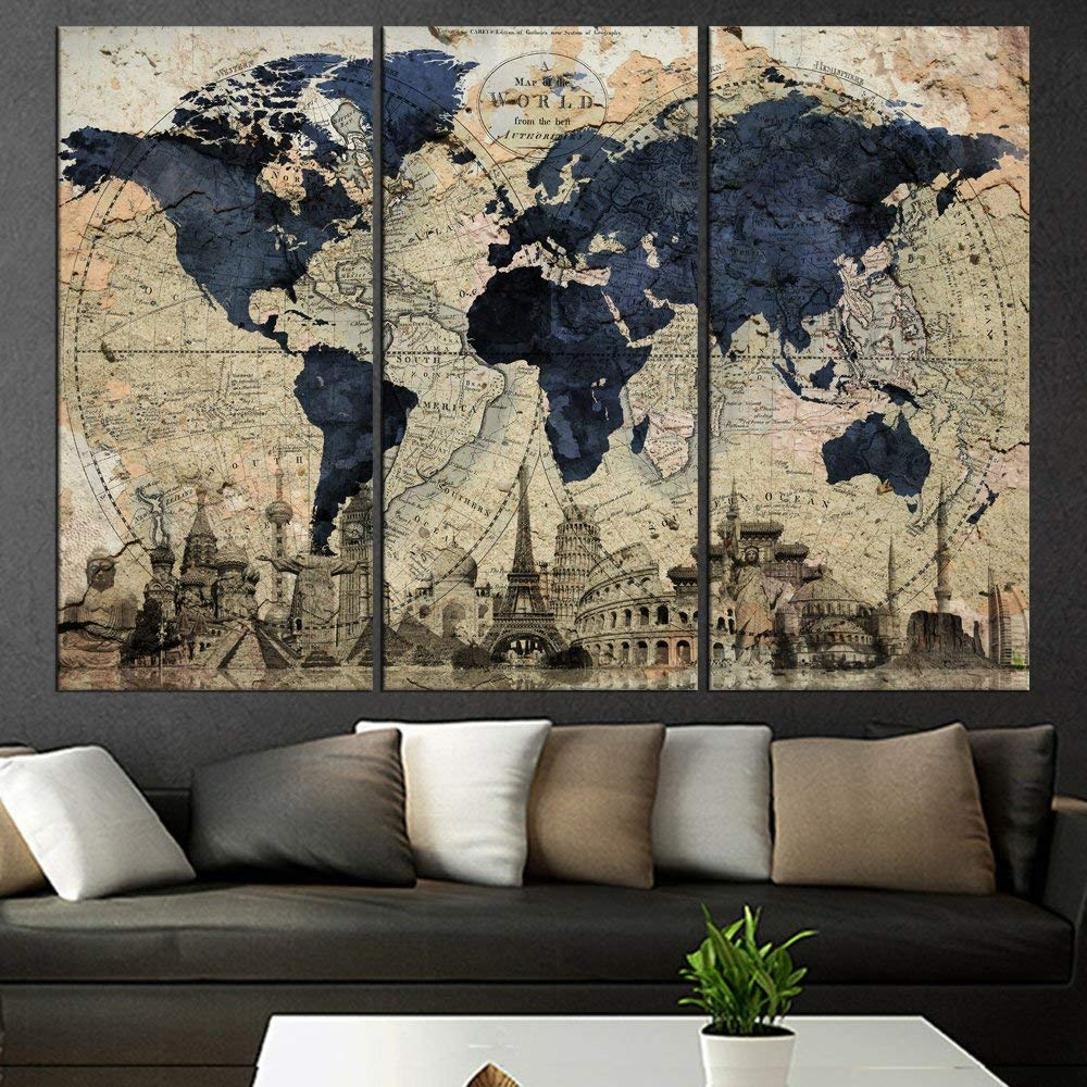 Huge World Map Global HD Canvas Print Retro Giant Picture Wall Art on modern wall world map, giant laminated world maps, wall size world map, wall sticker world map, giant detailed world map, giant wall numbers, giant world map mural, giant wall compass, ikea wall world map,