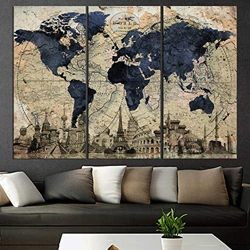 Huge World Map Global HD Canvas Print Retro Giant Picture Wall Art Decor  Oversized map Wall Art, Living Room, blue qn67