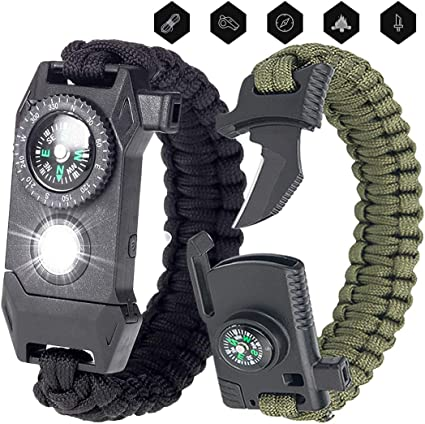 Paracord Armband-Feuerstein Notfallset 5 in 1 Survival set Outdoor Gear SOS