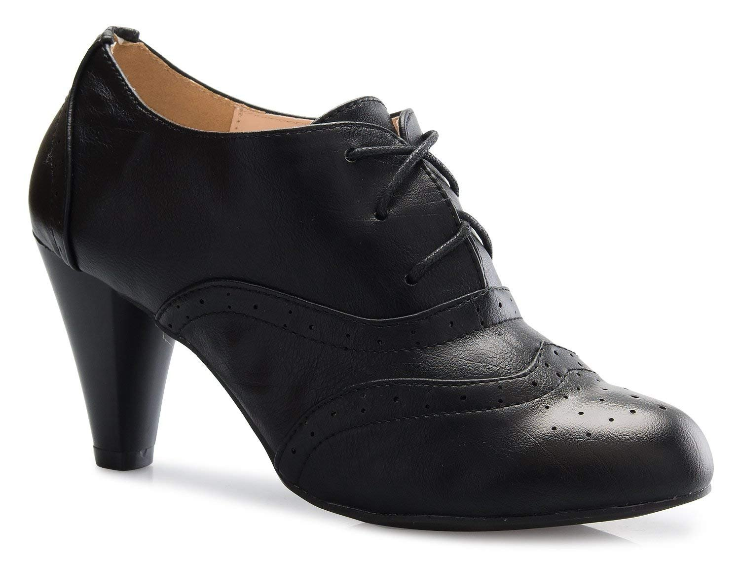 Women's Oxford Shoes Classic Fashion Chunky Heel Bootie Mid-Heel Lace Up Ankle Boots Mary Jane Pumps Black 9