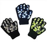 EvridWear Boys Girls Magic Stretch Gripper Gloves 3 Pair Pack Assortment, Kids One Size Winter Warm Gloves Children (3…