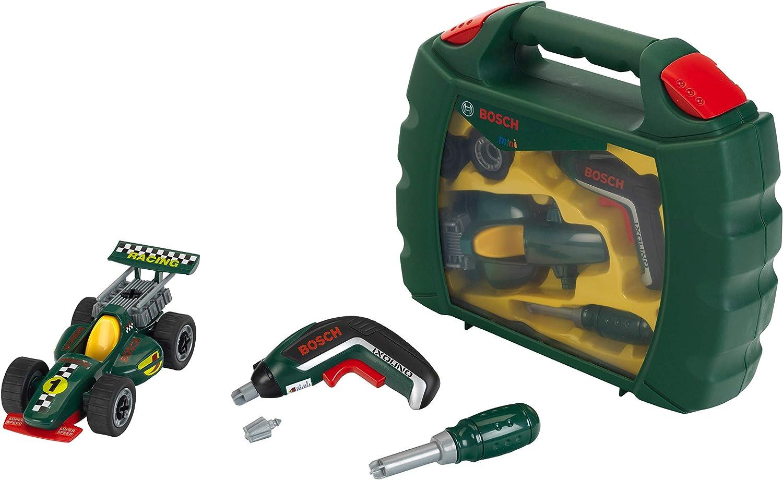 Theo Klein 8395 Set de maletín de herramientas Grand Prix con destornillador eléctrico Ixolino, Coche de carreras atornillable, Medidas 32 cm x 26 cm x 9 cm, Juguete para niños a partir de 3 años