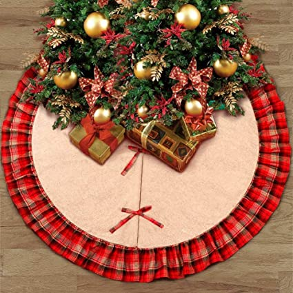 luxsego 2018 new 48 inches christmas tree skirt mat with plaid burlap ruffled double layers