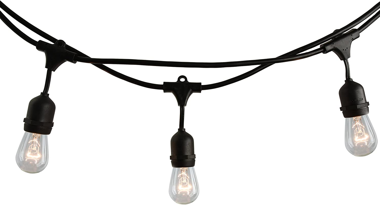 Bulbrite 14 ft, 10-Socket Decorative Kit with Clear Incandescent STRING10/E26/BLACK-S14KT Indoor and Outdoor String Lights, Foot, Black