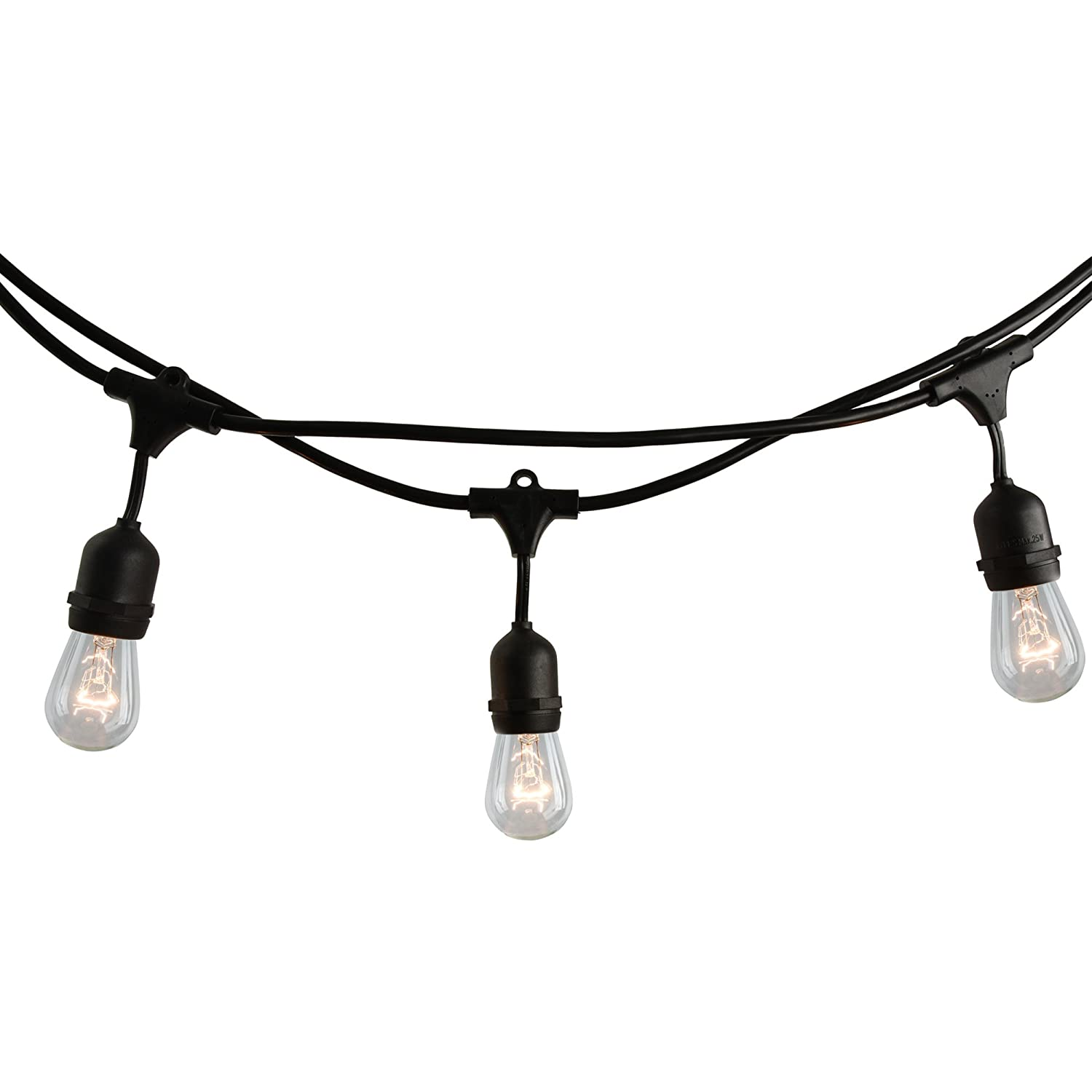 reputable site 86a12 1f729 Bulbrite 14 ft, 10-Socket Decorative Kit with Clear Incandescent  STRING10/E26/BLACK-S14KT Indoor and Outdoor String Lights, 1 Item, Black