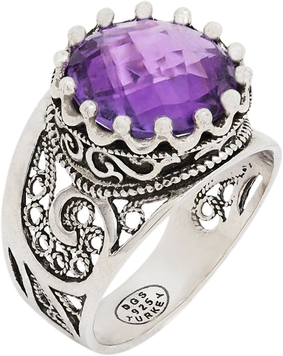 925 Sterling Silver Purple Amethyst Yellow Citrine Blue Topaz Round Filigree Paisley Ring (Size 5-12)