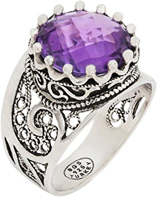 925 Sterling Silver Purple Amethyst Round Filigree Paisley Crown Ring Size 5-12