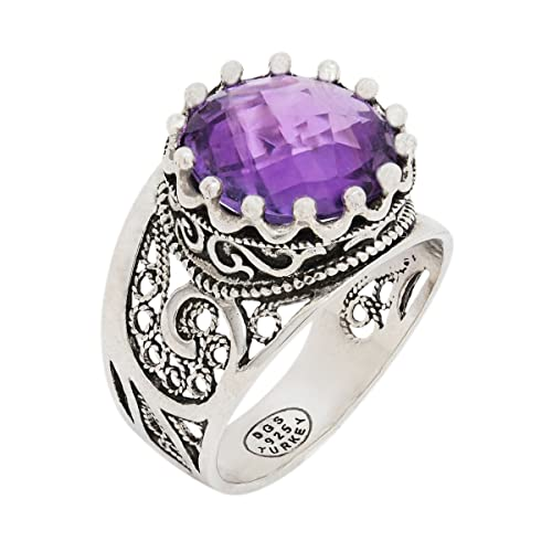 925 Sterling Silver Purple Amethyst Yellow Citrine Blue Topaz Round Filigree Paisley Ring Size 5 – 12