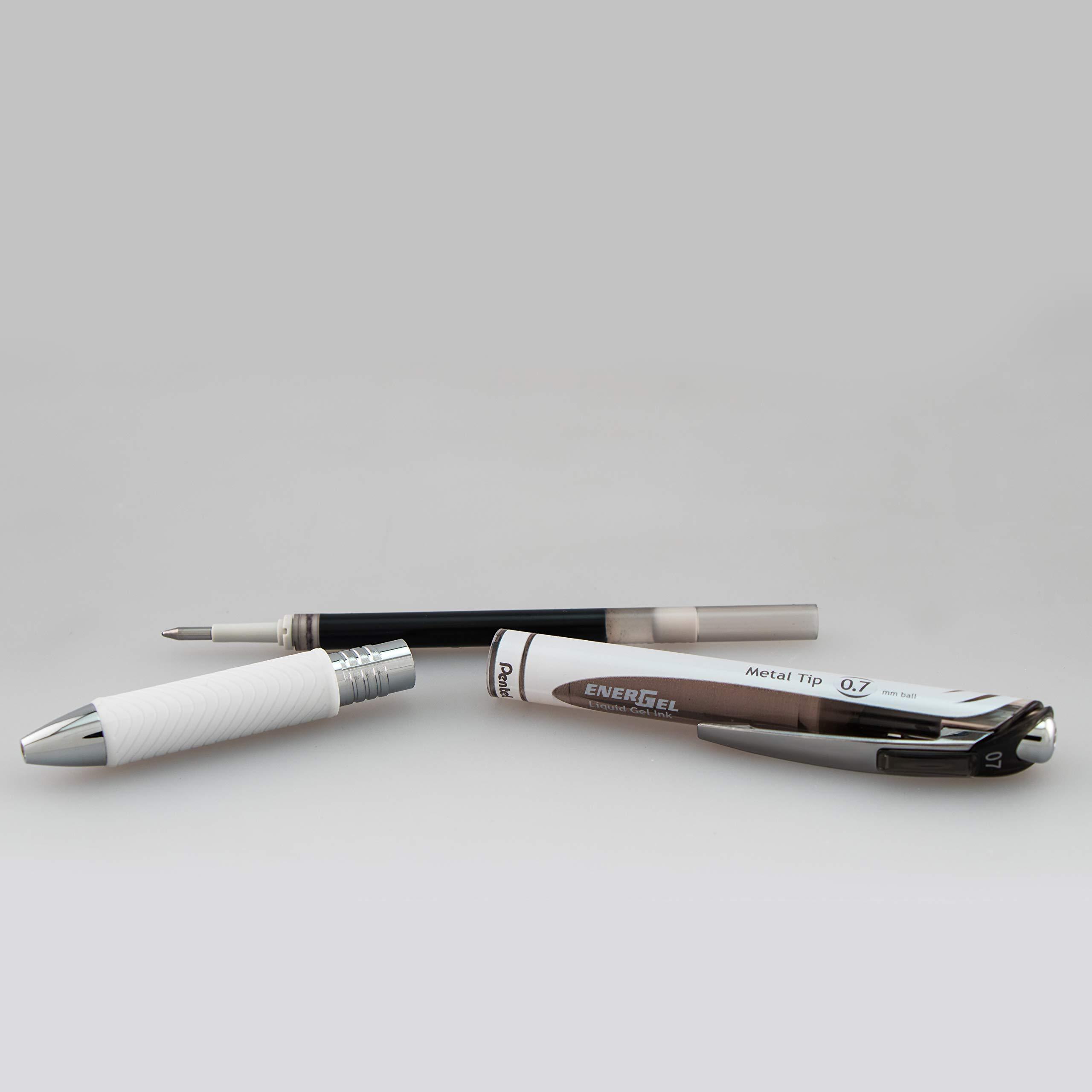 Pentel EnerGel Pearl Retractable Liquid Gel Pen, 0.7mm Black/Blue/Violet Ink, 12 Pack (BL77W12C) by Pentel (Image #5)