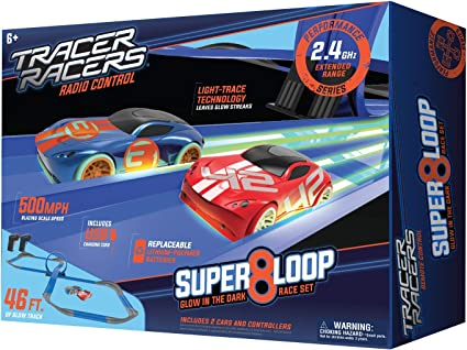 Tracer Racers R//C High Speed Remote Control Super 8 Speedway Glow Track Set with