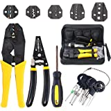 Hilitchi 4 Pcs Wire Crimping Tool Kit Terminal Ratchet Plier with 5 Interchangeable Dies, Wire Cutter/Stripper…