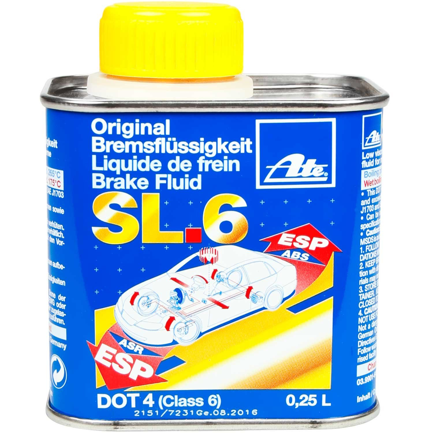 ATE SL6 liquido freni DOT4, 250  ML 250 ML Continental AG 706408
