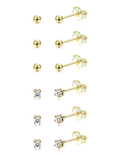 65574dff5 Sllaiss 6 Pairs Sterling Silver Tiny Ball Stud Earrings for Women Girls  Round CZ Earrings Set Gold: Amazon.co.uk: Jewellery