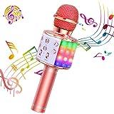 ShinePick Micrófono Karaoke Bluetooth, 4 en1 Microfono Inalámbrico Karaoke Portátil con Luces LED para Niños Canta…