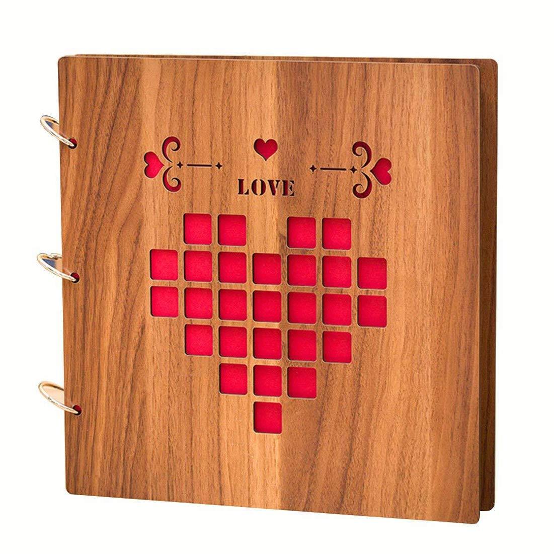 Álbum de fotos de madera DIY Scrapbook, 10 pulgadas (Love) por Yeelan XLONGUI