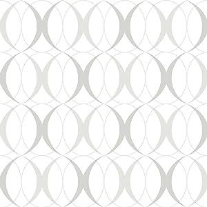 NuWallpaper NU1704 Circulate Light Silver Peel & Stick Wallpaper