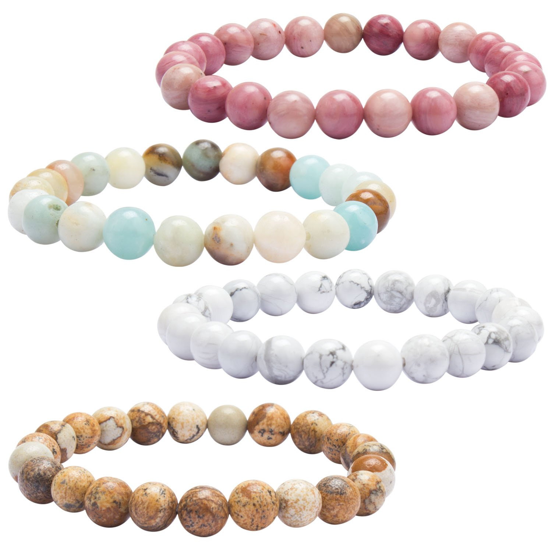 YISSION 4 Pack Lava Rock Stones Chakras bracelet Healing Bracelet Mala Agate Elastic Bracelets Yoga Reiki Prayer Beads Lucky Bracelet, 4 color