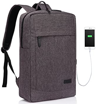 ... para Viajes Mochilas para Negocios con Funda Impermeable para Lluvia, USB Cargador Mochila para Portátil 17 Pulgadas Gris: Amazon.es: Electrónica
