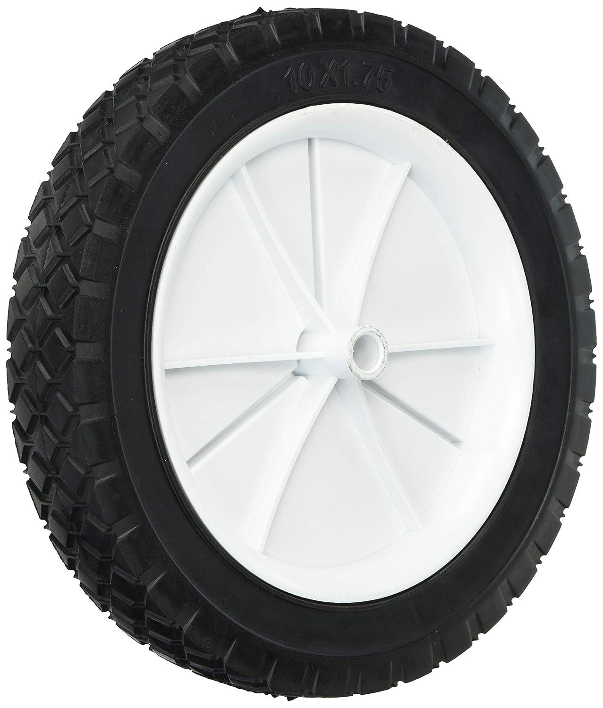 Shepherd Hardware 9615 10-Inch Semi-Pneumatic Rubber Replacement Tire, Plastic Wheel, 1-3/4-Inch Diamond Tread, 1/2-Inch Bore Offset Axle